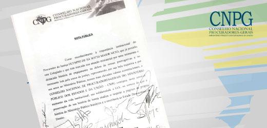 CNPG manifesta solidariedade ao ex-Procurador-Geral de Justiça do Paraná